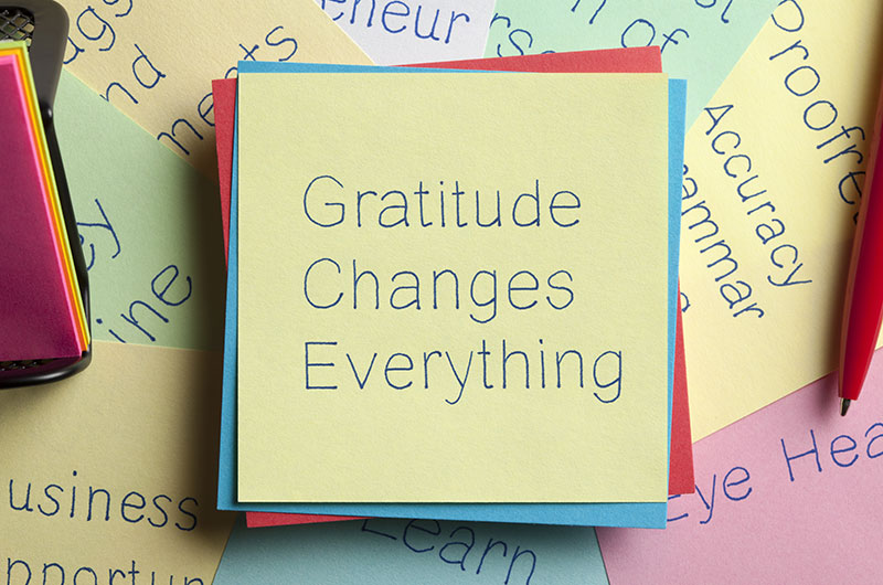 PostIt notes scattered in the photo with various words representing gratitude